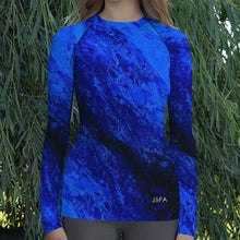 Load image into Gallery viewer, Women's Blue Secret Long Sleeve Shirt/ Rash Guard - JSFA - Original Art On Fashion by Jenny Simon
