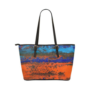 Zest Blue Orange Medium Zipper Leather Tote Bag | JSFA - JSFA - Original Art On Fashion by Jenny Simon