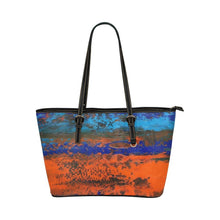 Load image into Gallery viewer, Zest Blue Orange Medium Zipper Leather Tote Bag | JSFA - JSFA - Original Art On Fashion by Jenny Simon