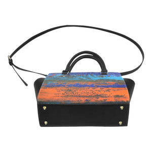 Zest Orange Blue Classic Handbag Top Handle | JSFA - JSFA - Original Art On Fashion by Jenny Simon