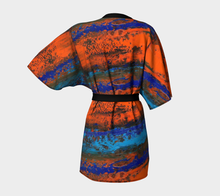 Load image into Gallery viewer, Zest Orange Blue Women's Kimono Robe Cover-Up | JSFA - JSFA - Original Art On Fashion by Jenny Simon