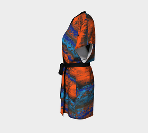 Zest Orange Blue Women's Kimono Robe Cover-Up | JSFA - JSFA - Original Art On Fashion by Jenny Simon