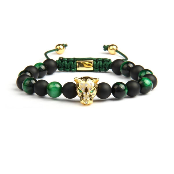 Golden Panther Bracelet Onyx & Green stones! - bro-coat