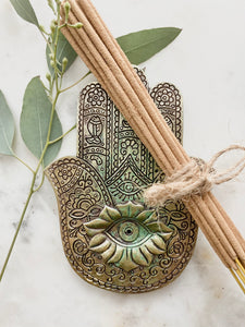 Hamsa Plate with incense bundle