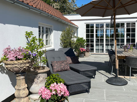 Comfortable outdoor sunbeds with cushions