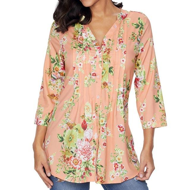 13eaa117ff7b9 ... Plus Size Women Tops Causal Vintage Floral Print V-neck Tunic Tops  Women s Fashion ...