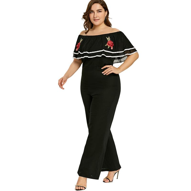 73599f8ca1e3 Fashion Sleeveless Maxi Overalls Belted Wide Leg Jumpsuit Plus Size  Embroidered Wide Leg Black Jumpsuit ...
