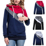 1 Pc Autumn Winter Newly Long Sleeve Nursing Hoodie Maternity Top Clothes Colorblock Hooded Breastfeeding Hoodie