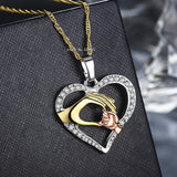 2020 Cubic Zirconia Mom Necklace Baby Heart Pendant Daughter Son Child Family Love Jewelry Friends Birthday Mother Days Gift Box