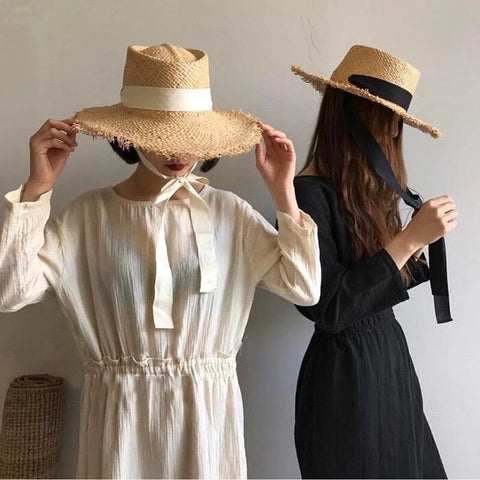 Luna&Dolphin Women Summer Black White Ribbon Hat Pure Color Big Jazz Straw Grass Sun Hat Bohemia Burr Big Holiday Seaside Hat