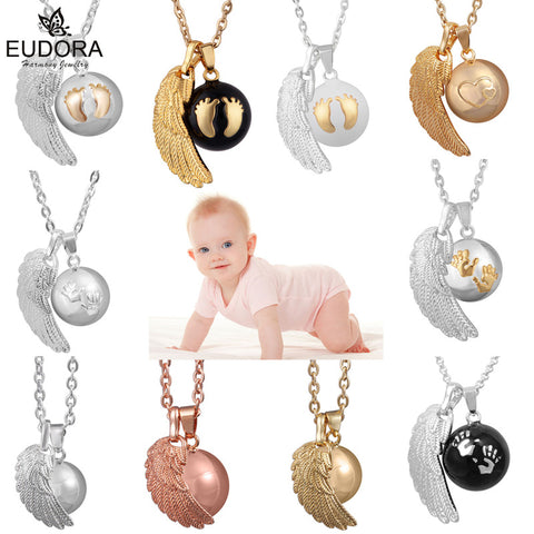 Eudora 1PCS  Angel Wing Baby Caller Pendant Necklace Fashion Pregnancy Ball Jewelry Chime Bola Pendants Necklaces Jewelry Gift