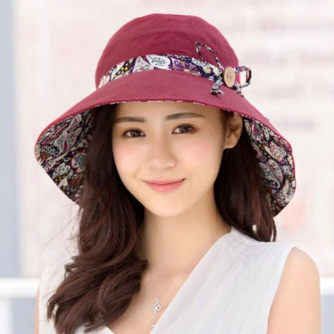 2019 simple Women Hindawi Summer Sun Hat Upf + 50 Suogry Reversible Folding Hat Beach Broad Brim Hat Cap