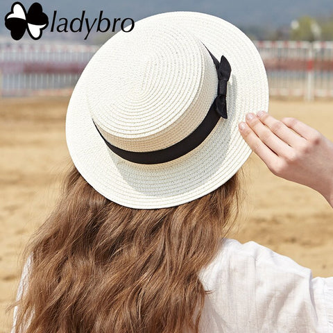 Ladybro Summer Women Boater Beach Hat Female Casual Panama Hat Lady Ribbon Classic Bowknot Flat Sun Hat Women Fedoras Travel