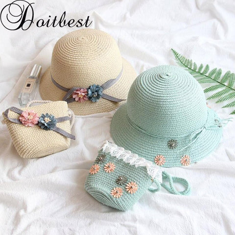 Doitbest High quality boy girls Straw Hats flowers Summer Sun Hats for kids children Beach Hats Foldable sunscreen including bag