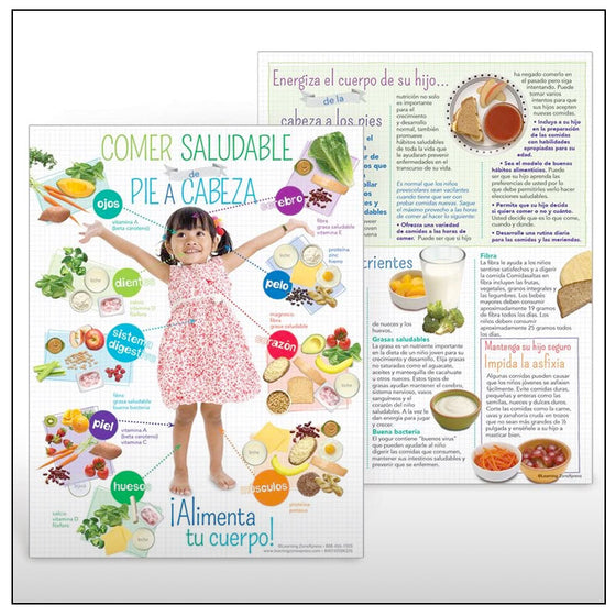Preschool Healthy Eating from Head to Toe Spanish Handouts