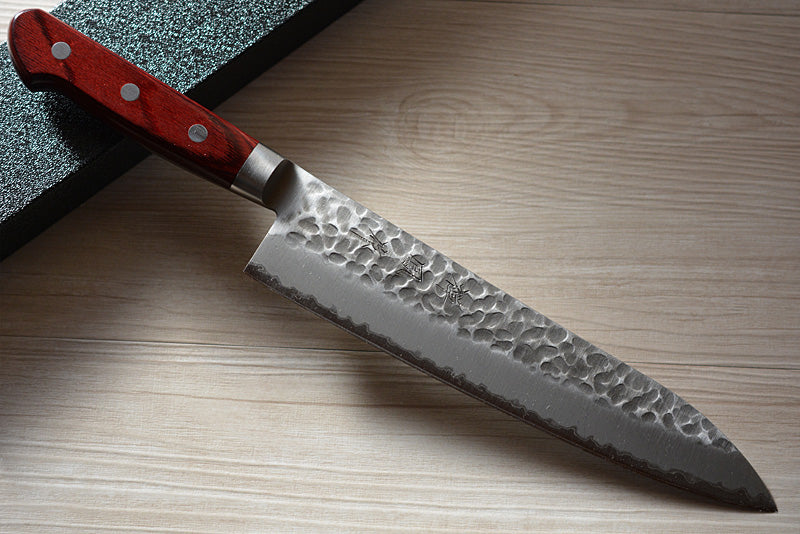 CH005 Japanese Kitchen Knife Zenpou Aogami Super Carbon Steel - Hammered Gyuto 21 cm