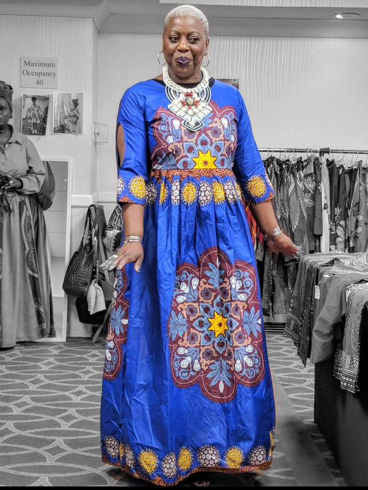 African Dashiki dress blue