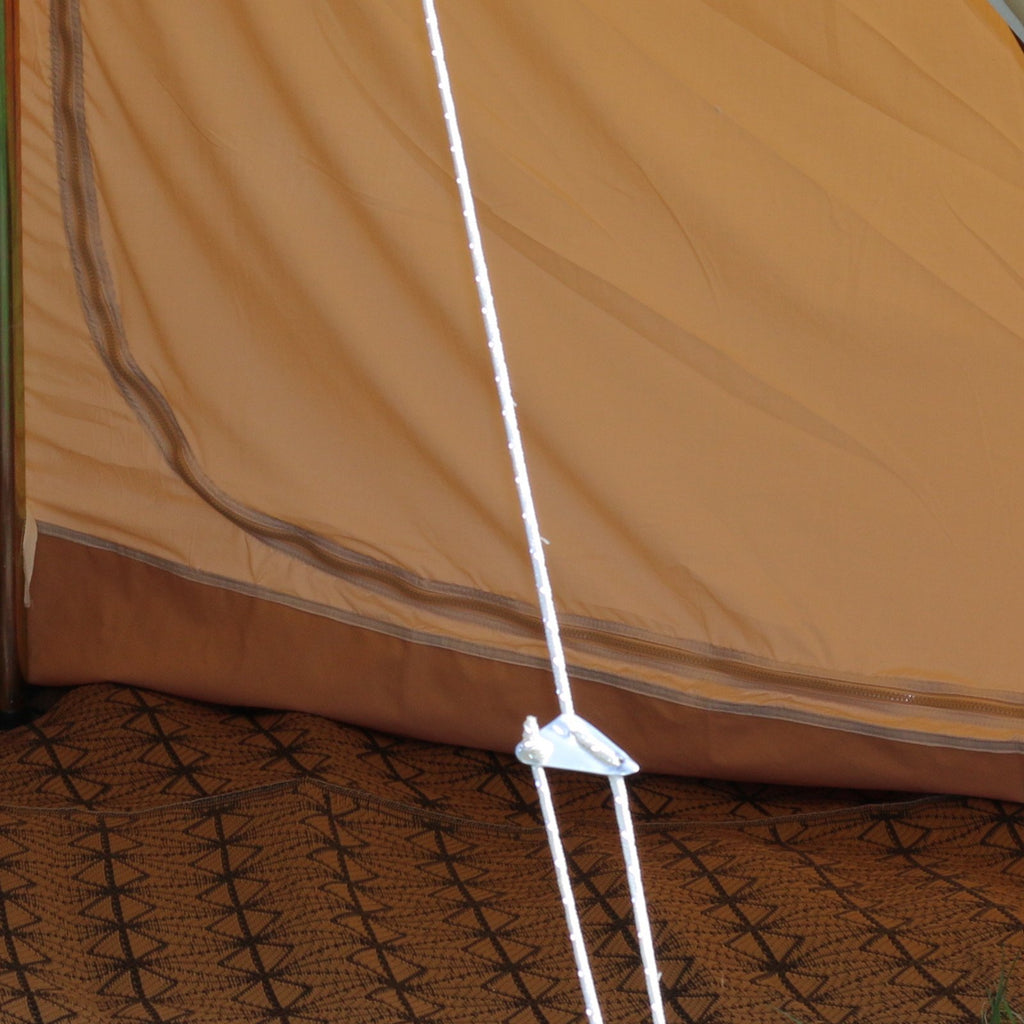 Glawning white polyester guy rope. The glawning is a luxury driveaway canvas bell tent for use with camper vans or as a standalone tent.