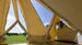 Interior 5m Glawning canvas driveaway canvas bell tent awning with bell tent matting