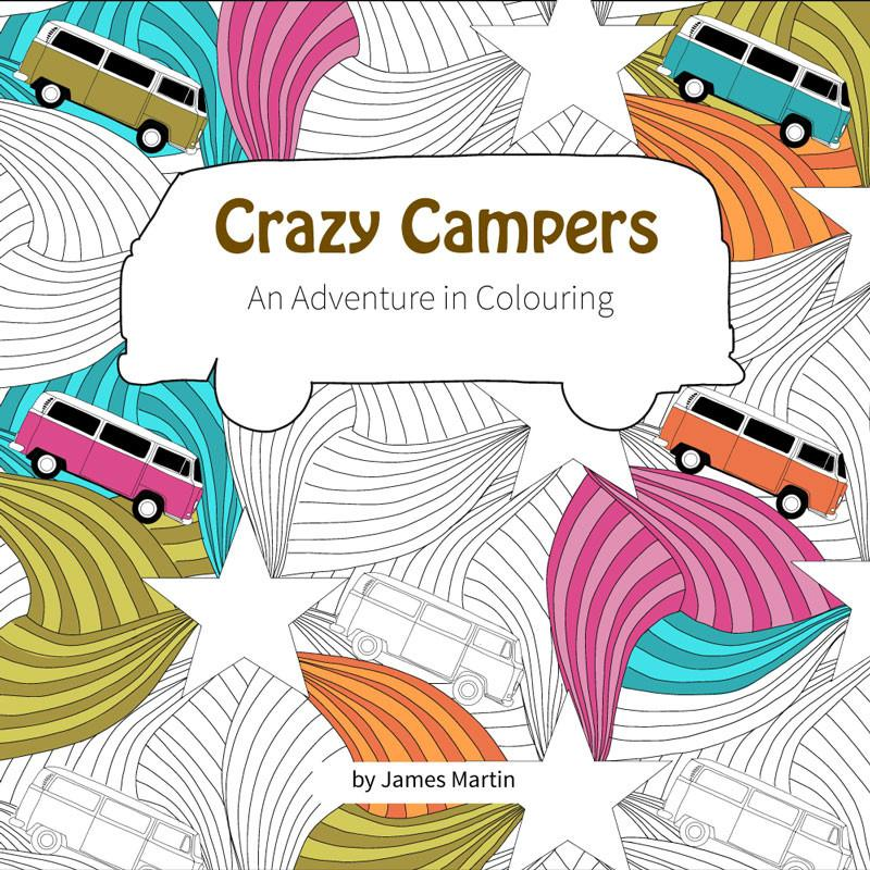 Crazy Campers colouring book by Glawning - front cover