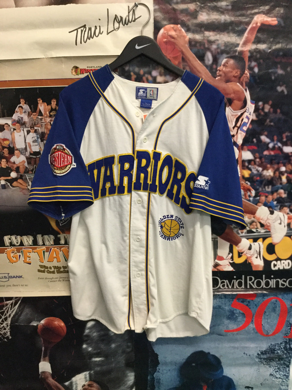 Starter Golden State Warriors Baseball Jersey Large - Decades of dope