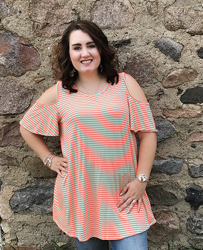 CURVY Coral Striped Cold Shoulder Tunic