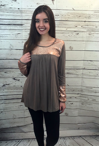 Babydoll Top with Sequin Accent