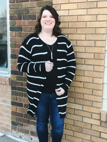 CURVY Ribbed Stripe Duster Cardigan
