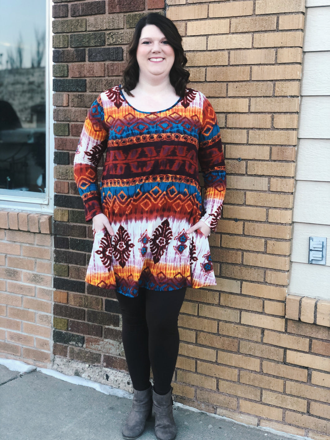 CURVY Aztec Swing Dress