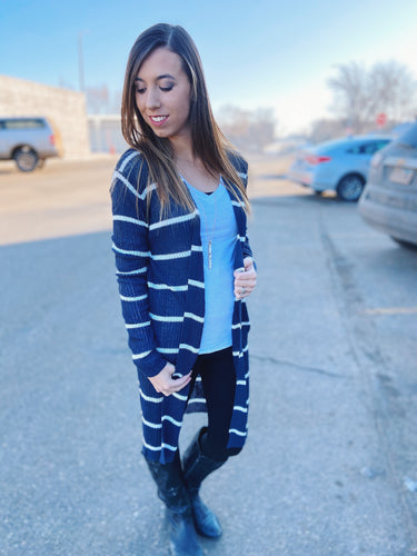Ribbed Stripe Duster Cardigan