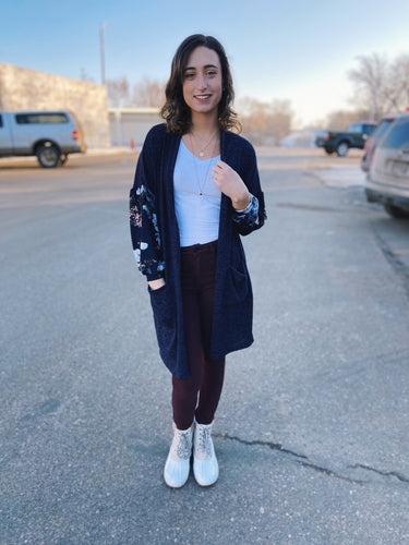 Floral Puff Sleeve Duster Cardigan