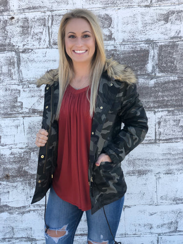 Camo Jacket with Faux Fur Neck Attachment