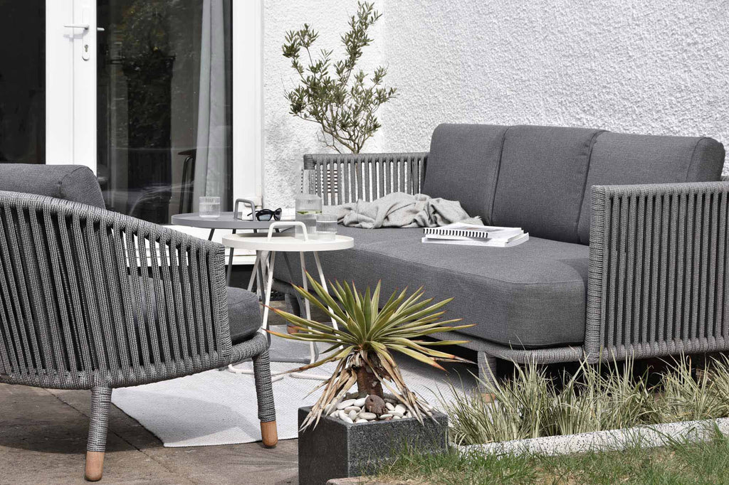 Scandinavian outdoor lounge sofa and lounge chair