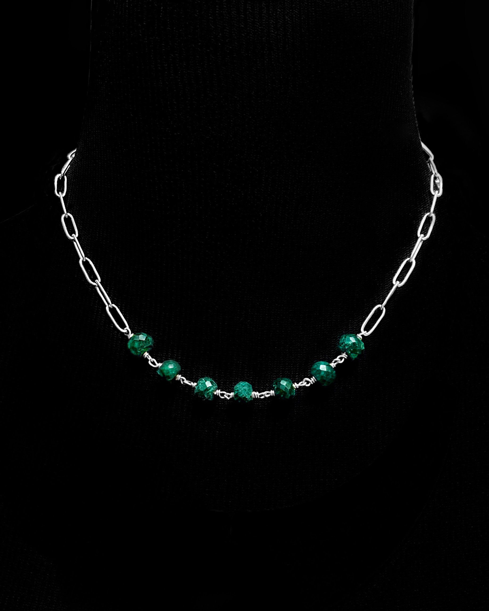 Raw Emerald and Silver 'Cartagena' Necklace