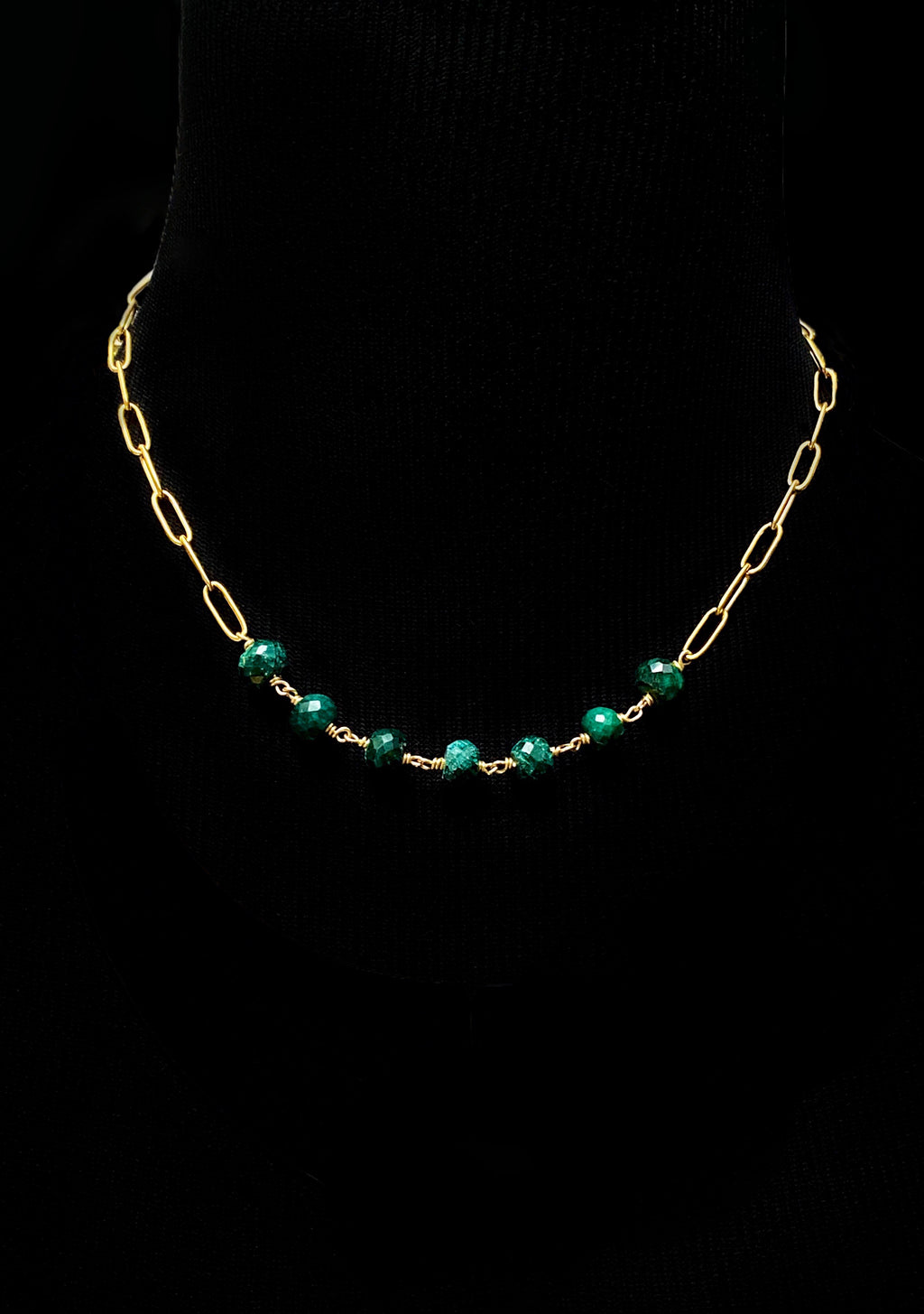 Raw Emerald and Gold 'Cartagena' Necklace
