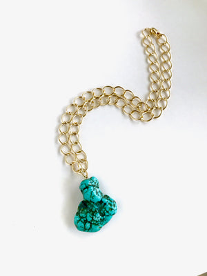 Turquoise Pendant Gold Necklace