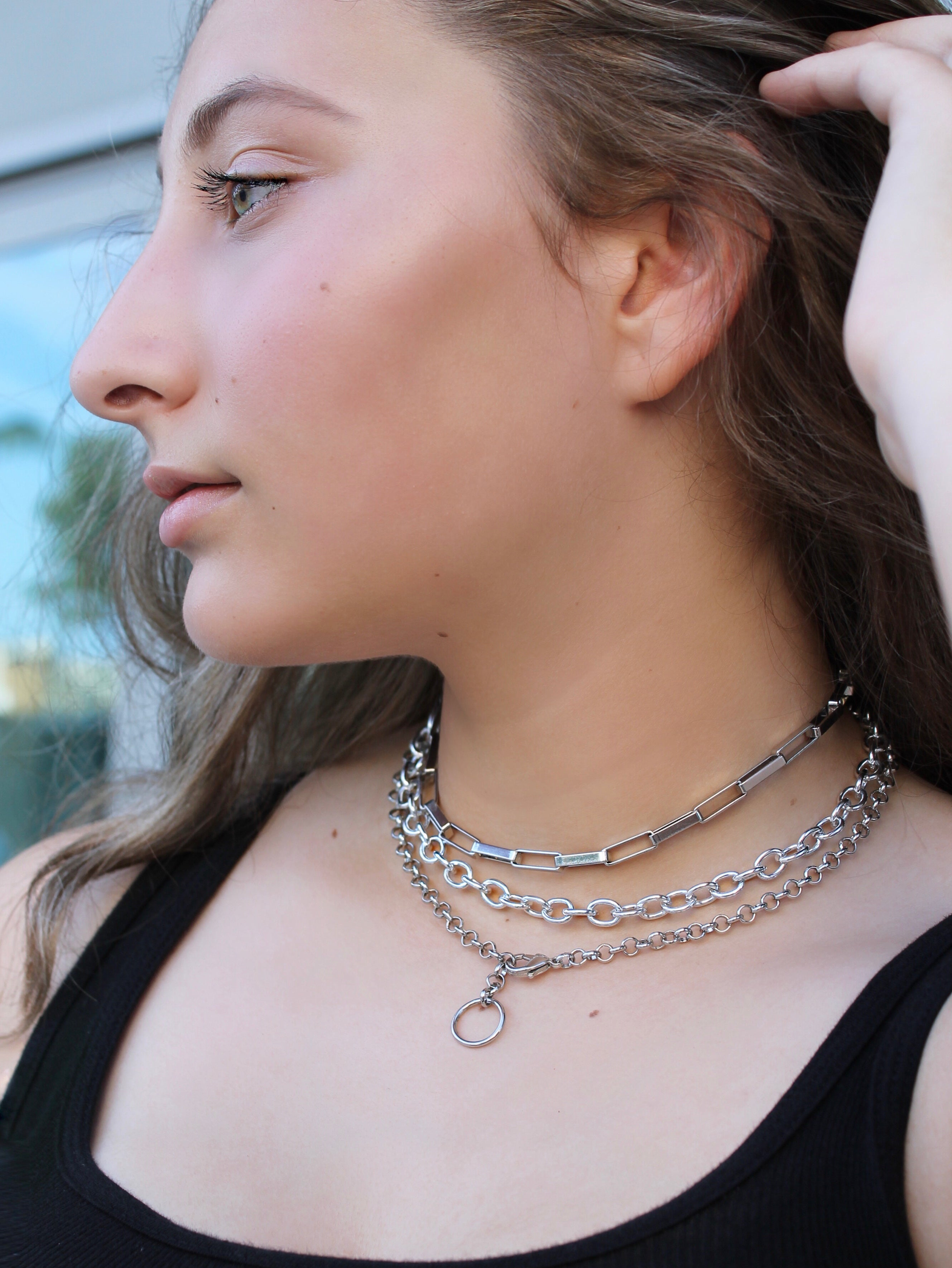 Classic O Link Silver Chain Necklace