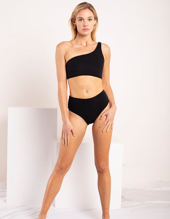 DB SUSTAINABLE 'Bronte' One Shoulder Bikini Top - Black