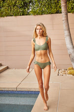 DB SUSTAINABLE 'Byron' Frill Bikini Swim Top - Khaki