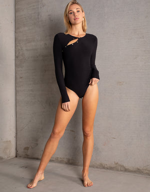 DB SUSTAINABLE 'Paris' Long Sleeve Bodysuit - Black