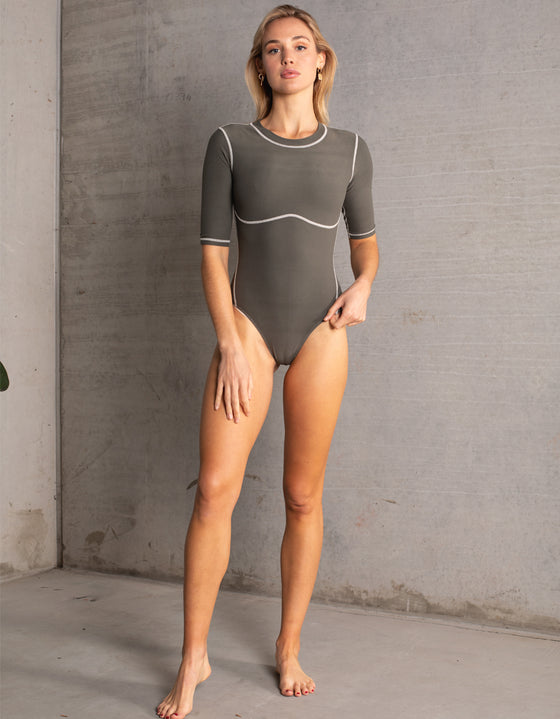 DB SUSTAINABLE 'Stockholm' Long Sleeve Bodysuit - Khaki