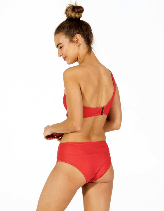 DB SUSTAINABLE 'Bronte' One Shoulder Bikini Top - Red