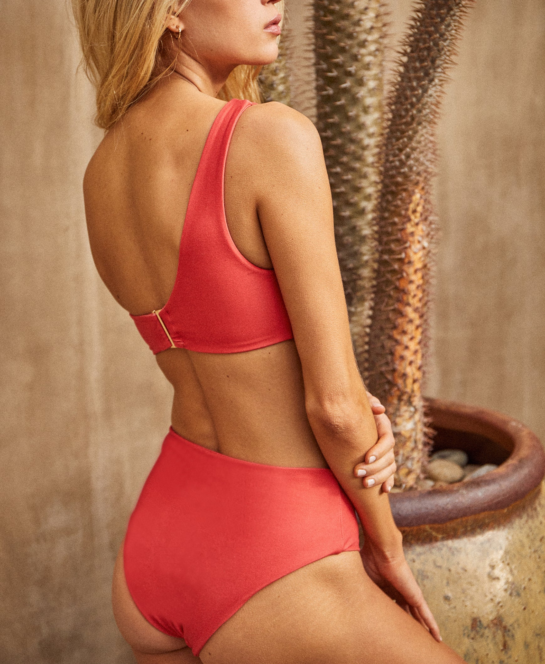 DB SUSTAINABLE 'Bronte' High Waisted Bikini Swim Brief - Red