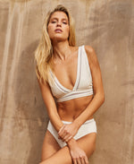 DB SUSTAINABLE Marley V-Neck Swim Bikini Top - Butter Cream