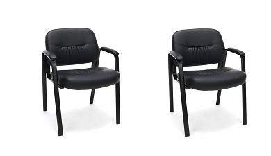 Essentials Leather Executive Side Chair - Guest/Reception Chair, Black (ESS-9010) (2-(Pack))