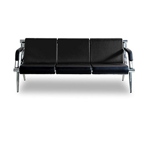 Image of Bestmart INC 3-Seat Office Reception Sofa Waiting Room Bench Visitor Guest Sofa Airport Clinic Seat (Black)