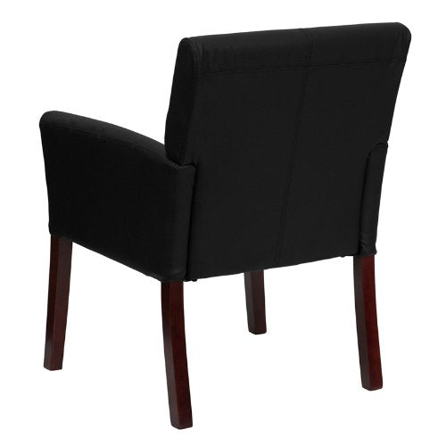 Flash Furniture Black Leather Executive Side Reception Chair with Mahogany Legs