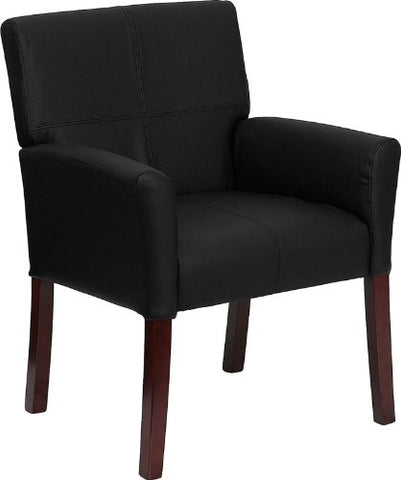 Image of Flash Furniture Black Leather Executive Side Reception Chair with Mahogany Legs