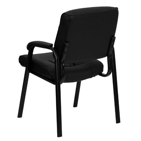 Flash Furniture Black Leather Executive Side Reception Chair with Black Frame Finish