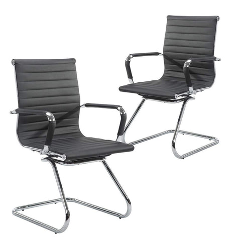 Image of Wahson Heavy Duty Leather Office Guest Chair Mid Back Sled Reception Conference Room Chairs, Set of 2 (Black)